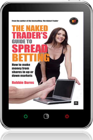 Cover of The Naked Trader's Guide to Spread Betting on Tablet by Robbie Burns