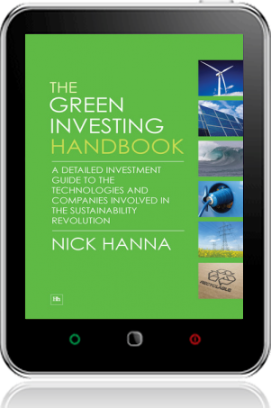 Cover of The Green Investing Handbook on Tablet by Nick Hanna