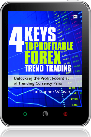 Cover of 4 Keys to Profitable Forex Trend Trading on Tablet by Christopher Weaver