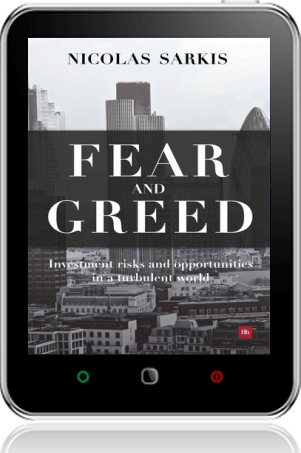 Cover of Fear and Greed on Tablet by Nicolas Sarkis