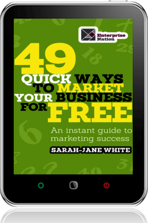 Cover of 49 Quick Ways to Market your Business for Free on Tablet by Sarah-Jane White
