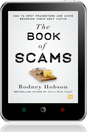 Cover of The Book of Scams on Tablet by Rodney Hobson