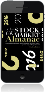 Cover of The UK Stock Market Almanac 2016 on Mobile by Stephen Eckett