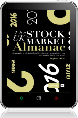 Cover of The UK Stock Market Almanac 2016 on Tablet by Stephen Eckett