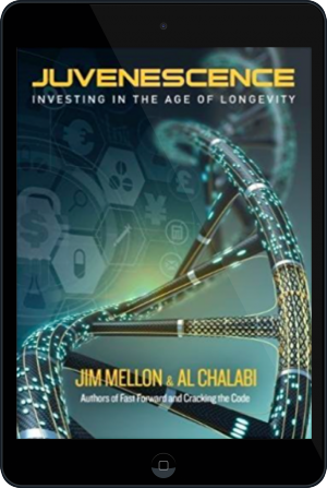 Cover of Juvenescence on Tablet by Jim Mellon and Al Chalabi