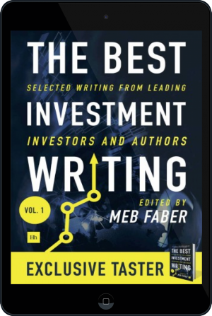 Cover of The Best Investment Writing Sampler on Tablet by Meb Faber