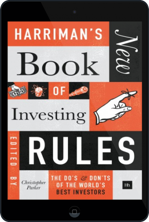 Cover of Harriman's NEW Book of Investing Rules on Tablet by Christopher Parker