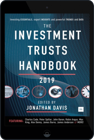 Cover of The Investment Trusts Handbook 2019 on Tablet by Jonathan Davis