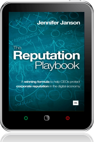 Cover of The Reputation Playbook on Tablet by Jennifer Janson